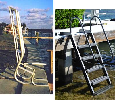 Swinging aluminum swim ladder