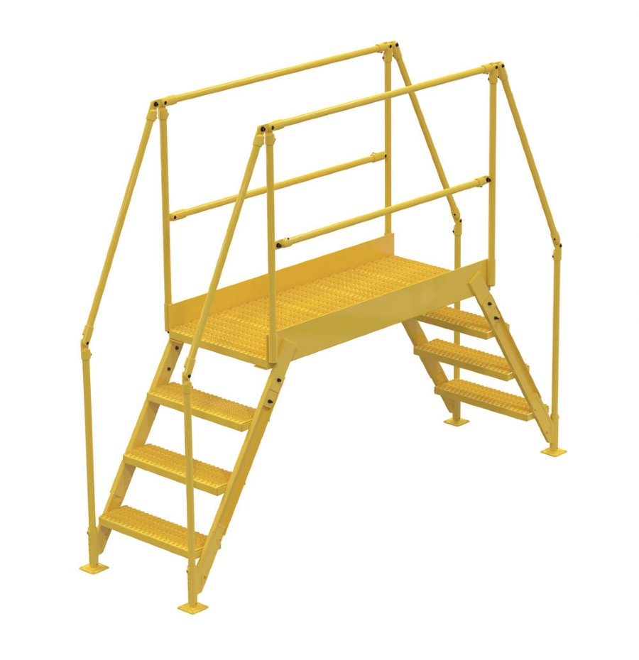 4 Step Steel Crossover Ladders With 60 In Long Platform