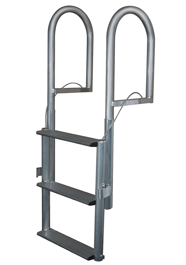 4 Step Wide Step Anodized Aluminum Lifting Dock Ladders