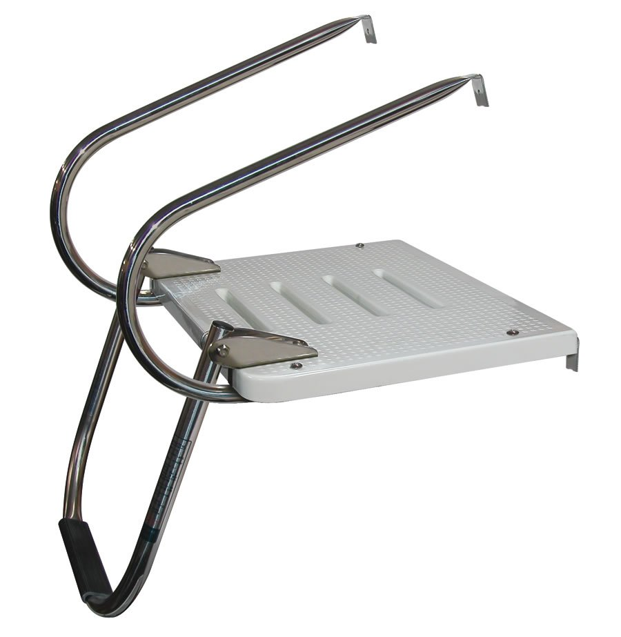 Single Step Stainless Steel I O Transom Platform Ladders