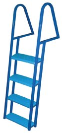 4 Step Steel Dock Ladders, Blue Powder Coat