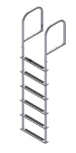 6 Step Stainless Steel Ladders, Top Mount, 20 in. Deep Handles