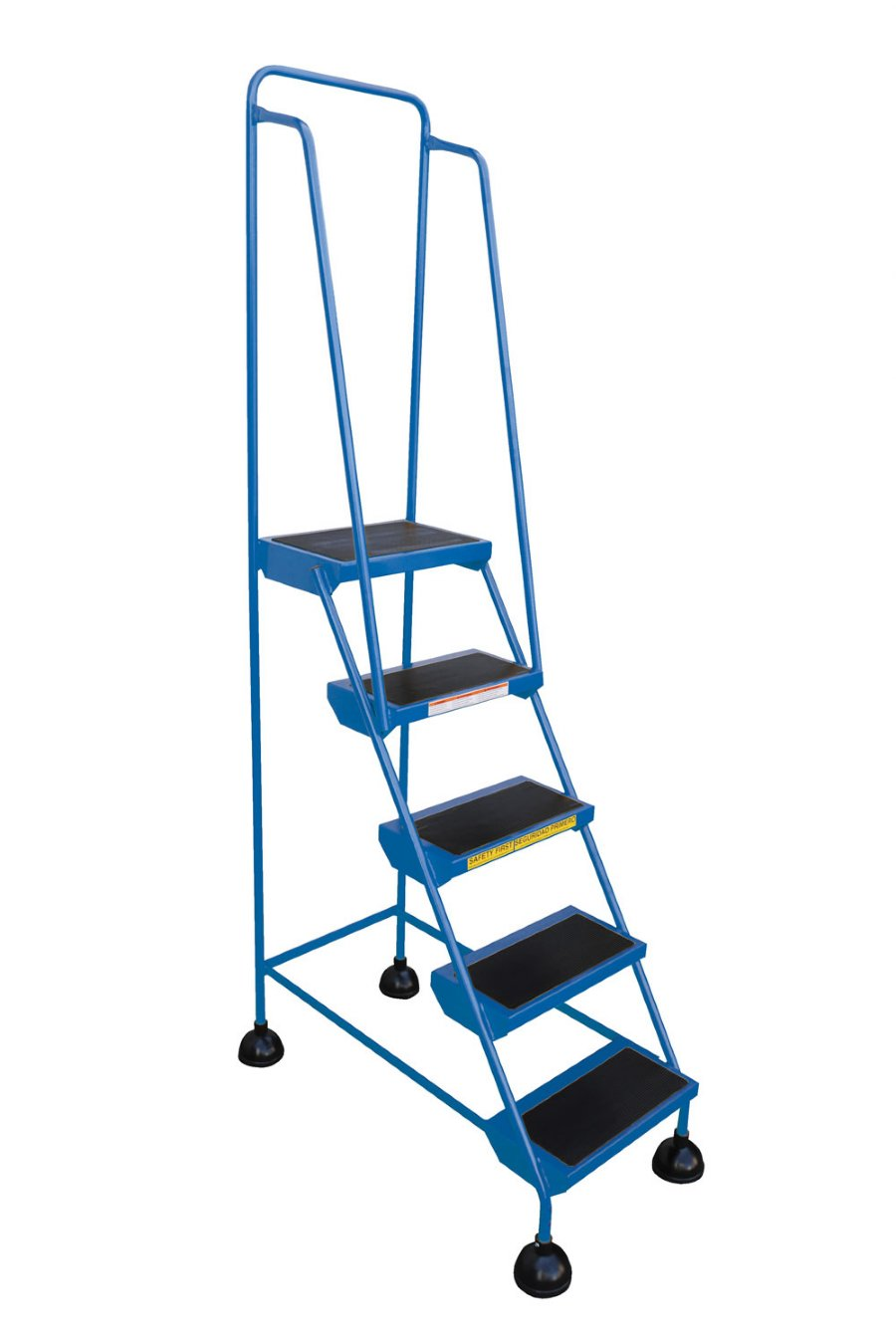 5 Step Spring Loaded Warehouse Ladders With Blue Powder