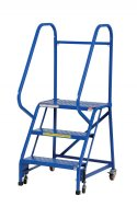 2 Step Portable Warehouse Ladders, 18 in Top Step, Perforated Steps