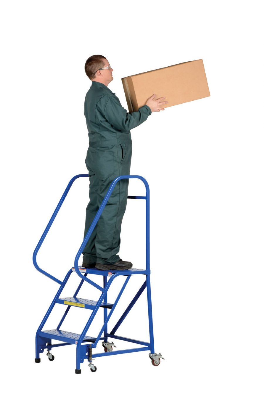 "4 Steps To Success: 4 Step Portable Warehouse Ladders With 26"" Wide Perforated"