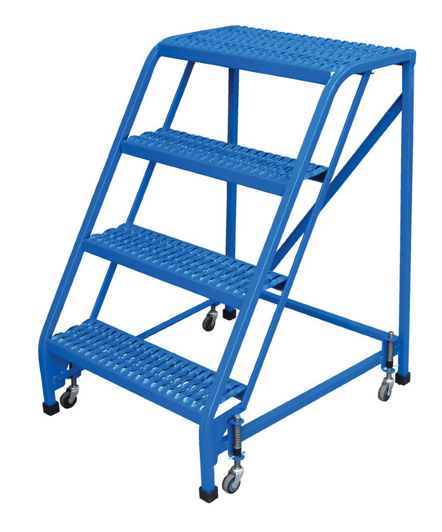 4 Step Portable Warehouse Ladders, No Handrail, 18 In Wide Perforated Steps