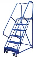 6 Step Portable Warehouse Ladders, 18 in Top Step, Perforated Steps
