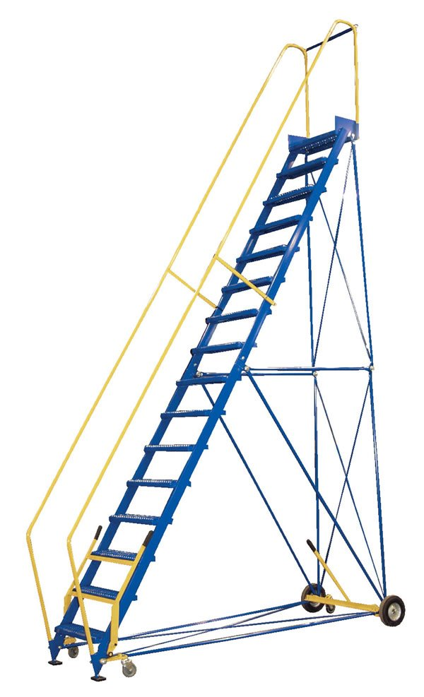 12 Step Rolling Warehouse Ladders With 20 Quot Platform And