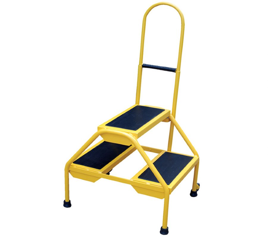 Blue Portable Two Step Ladders With Perforated Steel Steps