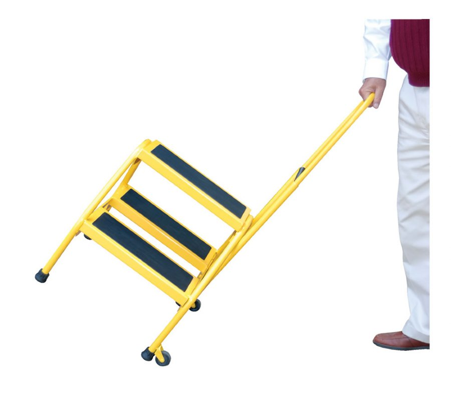 Portable Steel Steps : Yellow portable two step ladders with perforated steel